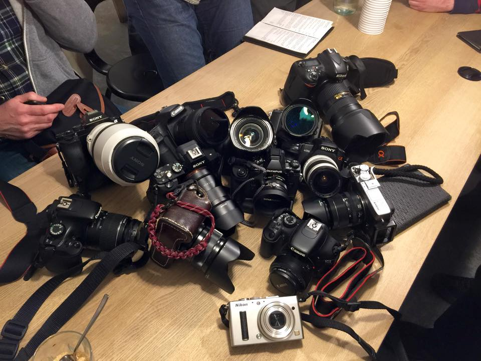 We lost half the group for a short while and decided to make a coffee stop. This was about half of the cameras that were there on the day! (Interesting to see so many mirrorless cameras eh!)