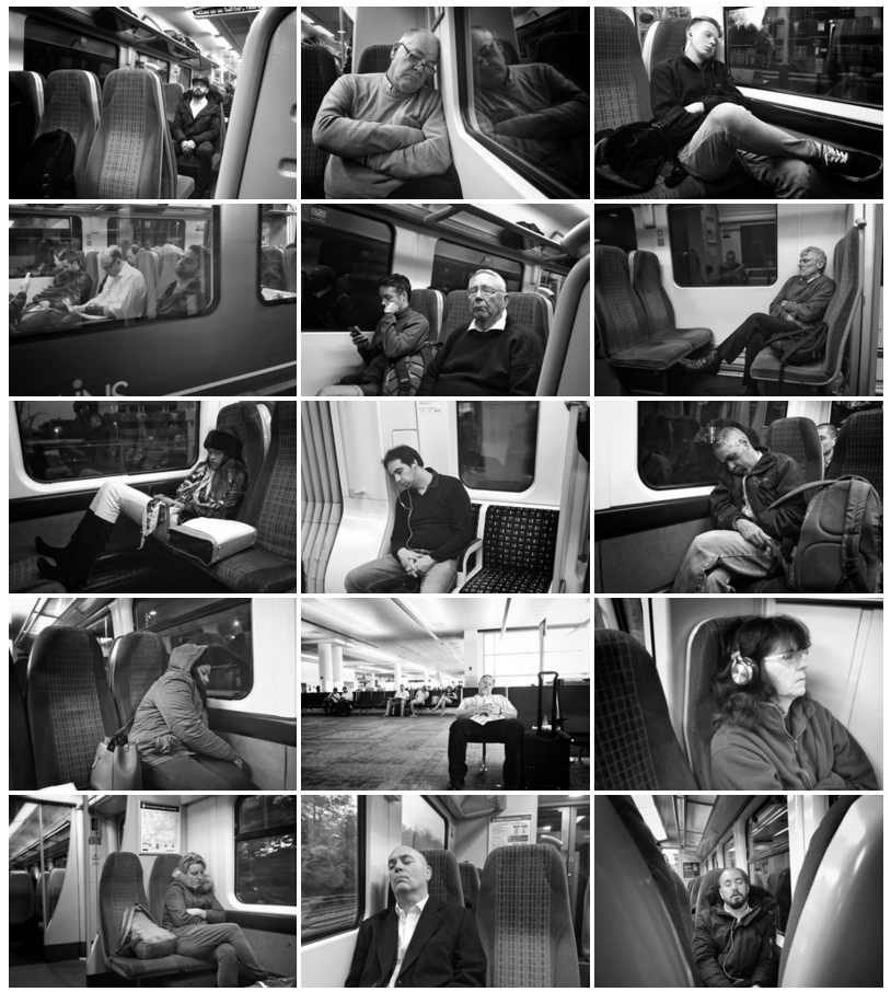 Click on the preview to view the full gallery of sleeping commuter photographs