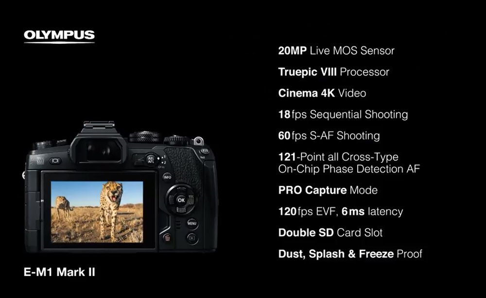 The new E-M1ii spec, including a new 20Mp sensor from Sony, capable of 4K video, 18 frames per second and 121 focus points, all of which are on-chip phase detect and ALL of which are cross type!