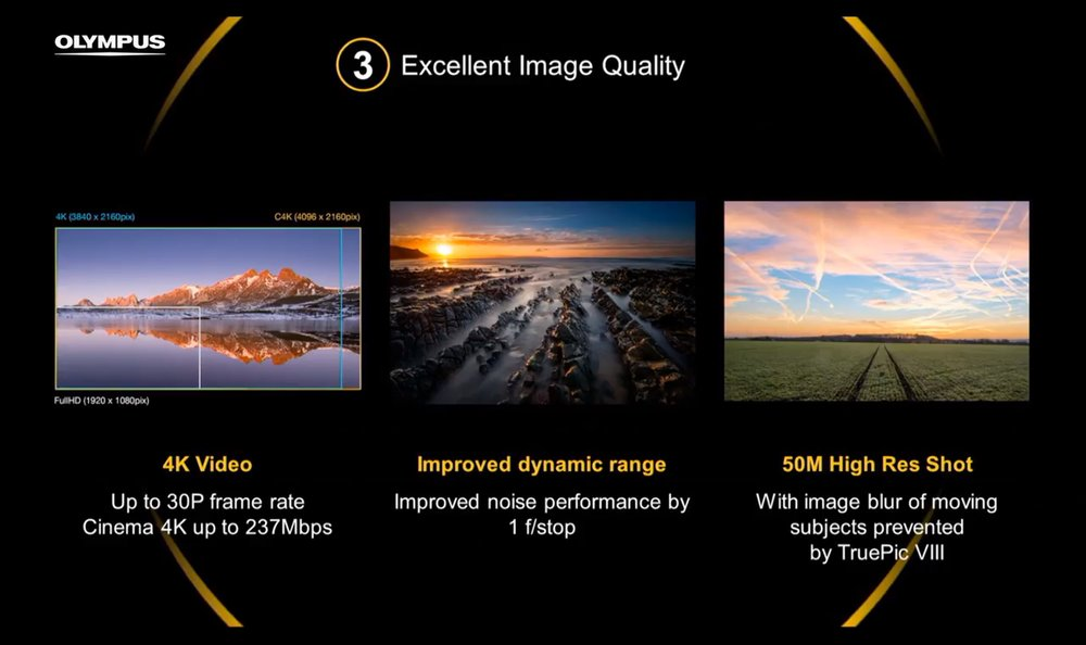 4K Video, 1 stop of noise improvement, higher dynamic range and the 50 megapixel hi res shot are all features in the E-M1ii.