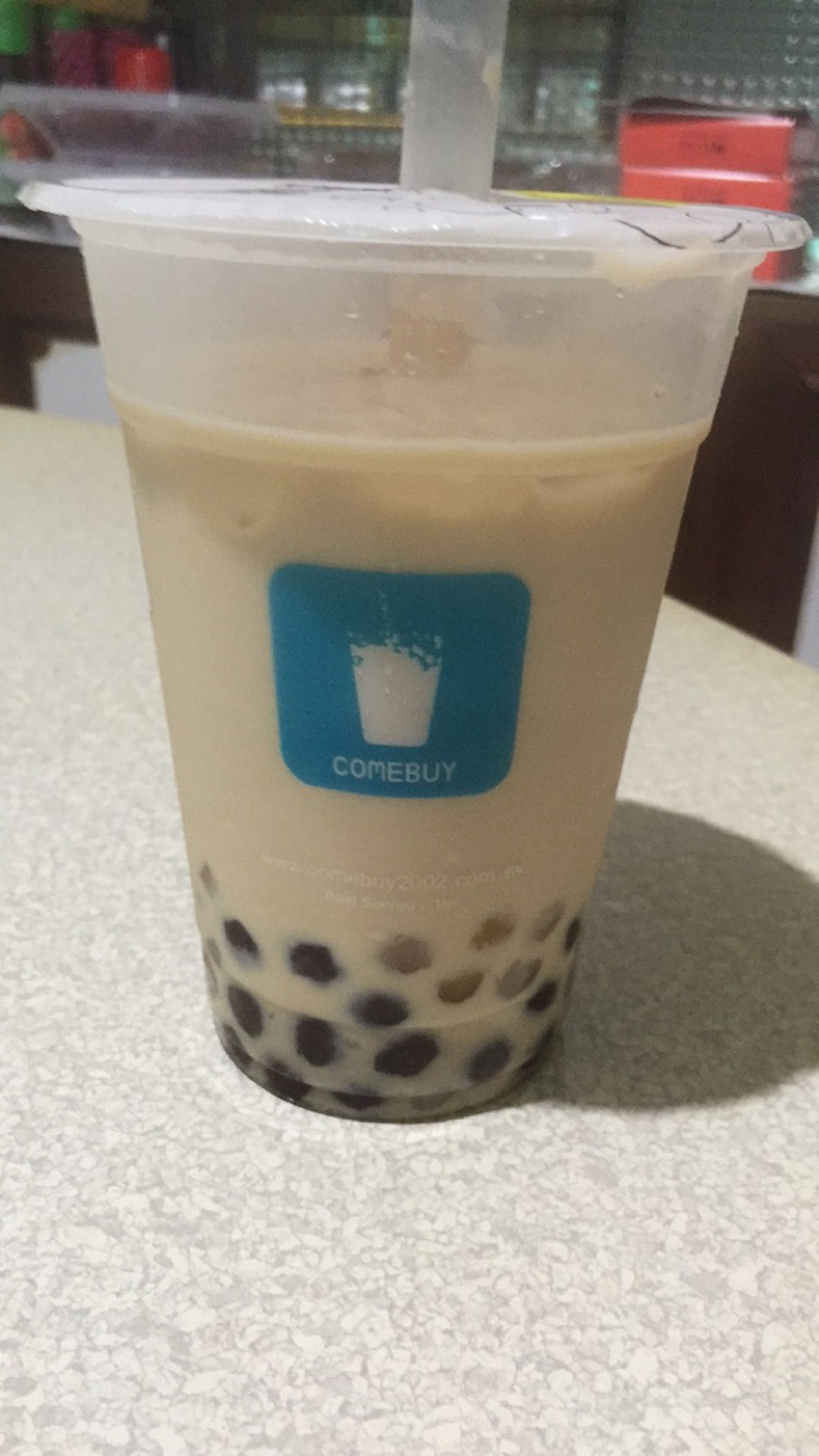 Bubble tea with sweet potato, taro, tapioca