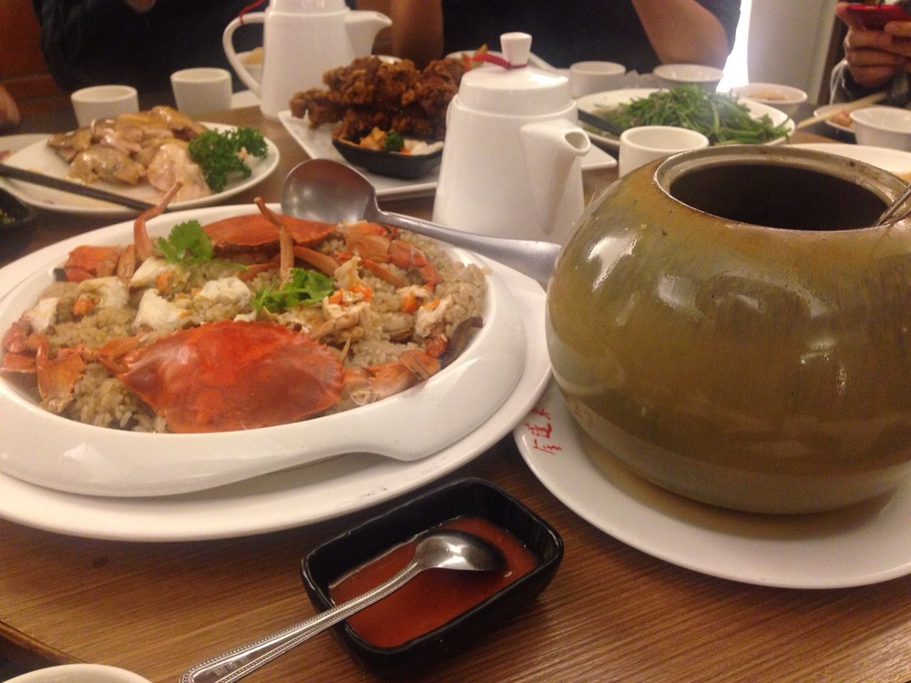 Crab sticky rice and a bowl of soup
