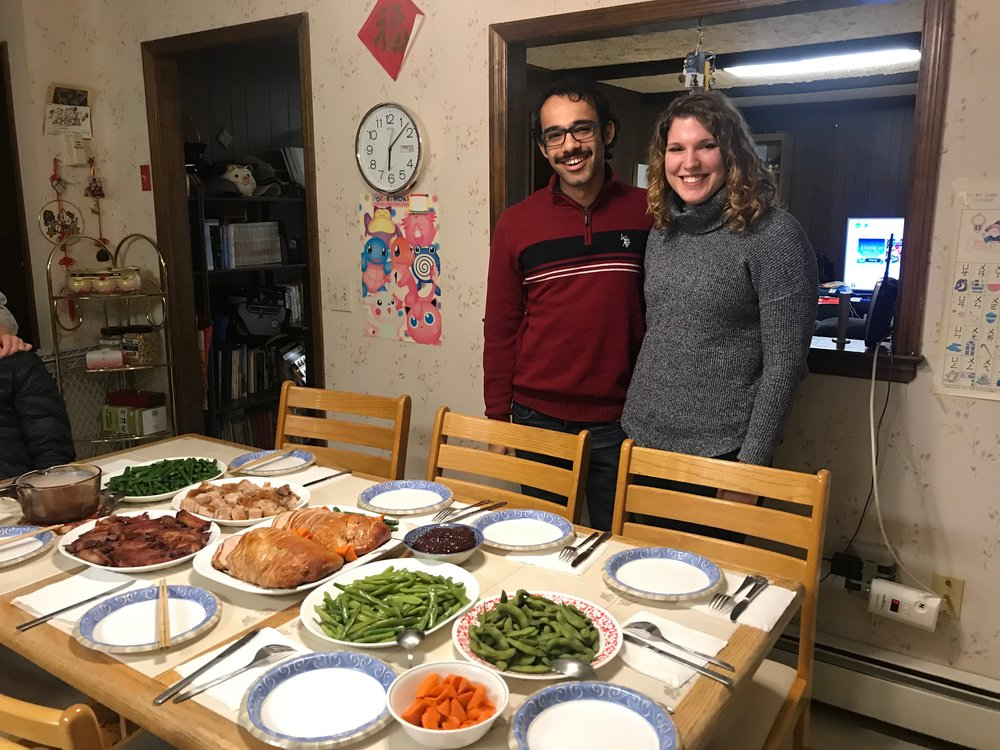 Hesham and Jenna came over for Thanksgiving Dinner!