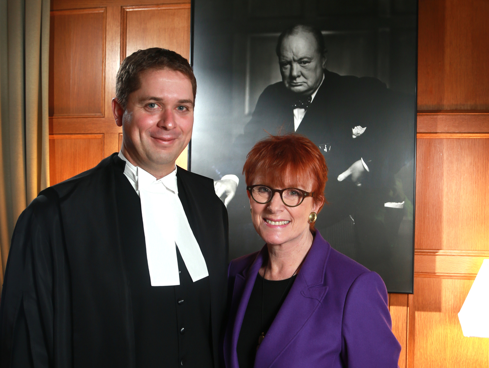 Celia Sandys, Speaker Scheer and the Karsh portrait (Bruno Schlumberger, Ottawa Citizen)