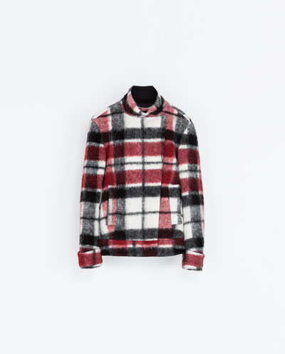 ZARA - Double Breasted Checked Woolen Coat. Was £69.99, NOW £39.99