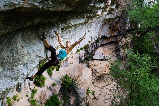 So psyched for fall in the south! @sarahjmicha cruising on Supercruiser (5.13b) #texasclimbing