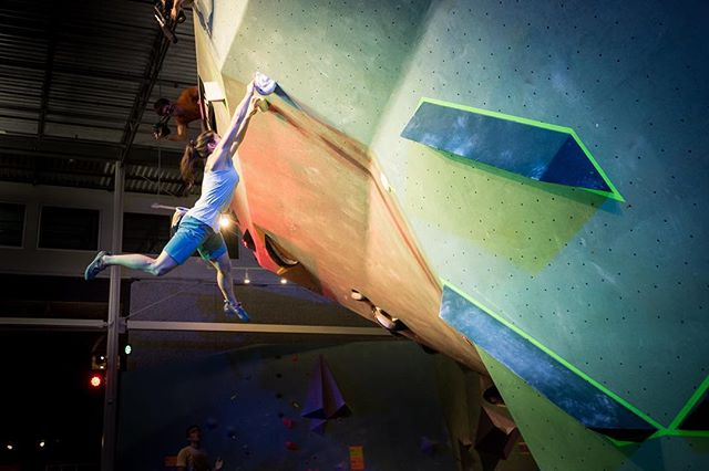 Sometimes the best moments of a climbing competition aren't the climbing itself, but someone giving it their all. Here's @alannah_yip _yip doing just that during @austinboulderingproject 's first annual #southwestboulderfest.    #bouldering #andshesdopetoo