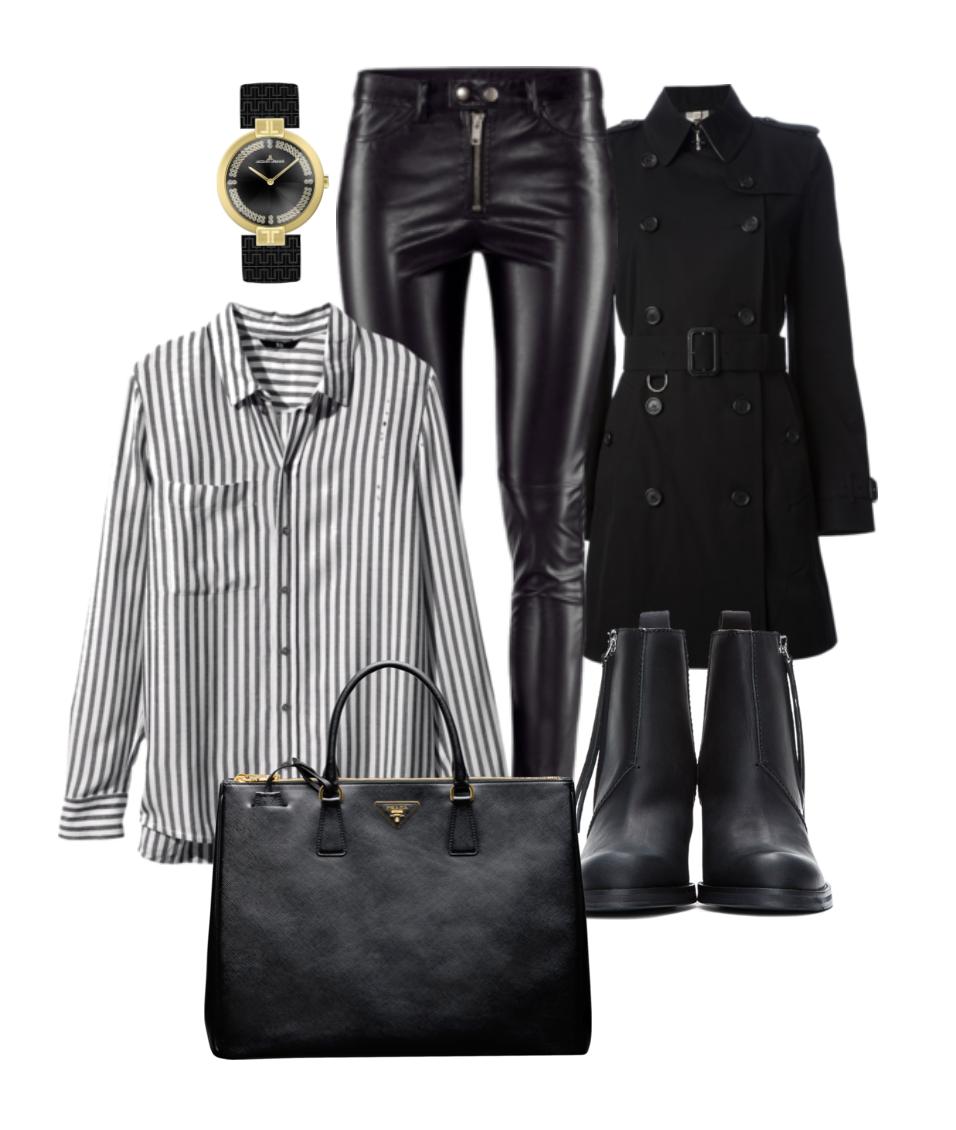 Klokke Jacques Lemans, imitert skinn fra H&M, stripete bluse fra H&M, trench fra Banana Republic, sko Nilsson Shoes og veske Prada