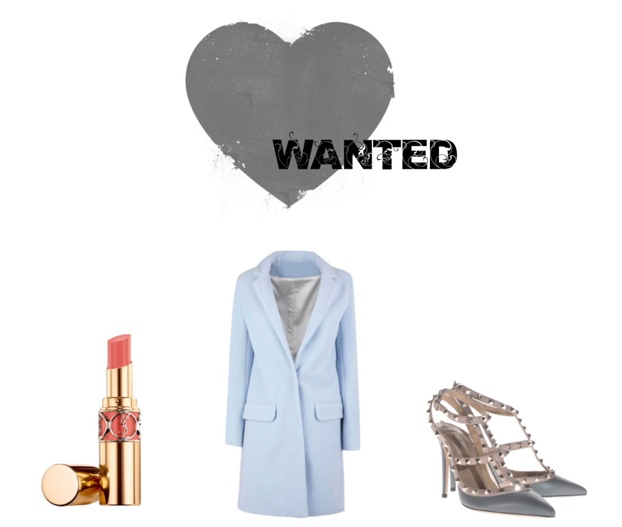 YSL Rouge Volupté #13, LUANN boyfriend coat light blue, VALENTINO rockstud slingback