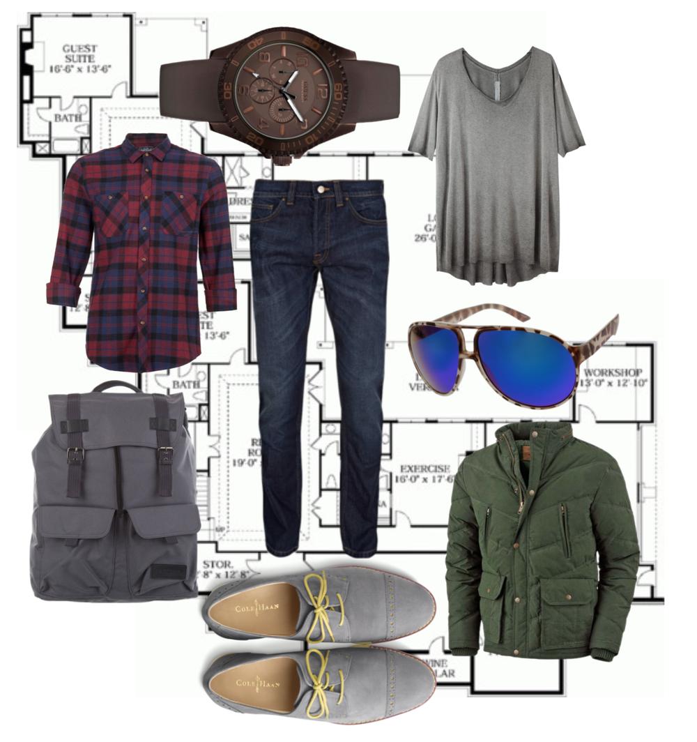 Klokke GUESS, T-skjorte: Raquell, flannelskjorte: TOPMAN, jeans: TOPMAN, ryggsekk: Eastpak, sko: Cole Haan, jakke: Legendary Whitetails, solbriller: Zenni Optical