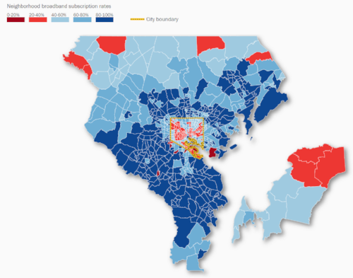 The Baltimore region's broadband access. Image: The Brookings Institute,
