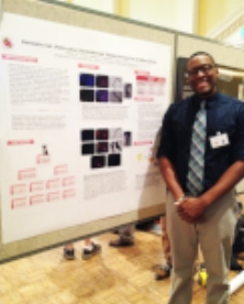 - AJ presenting his research - AGNR Undergraduate Research Day