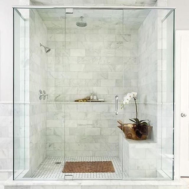 We love this dreamy shower! #maryamonsdesign #regram #interiordesign #design #lifestyle