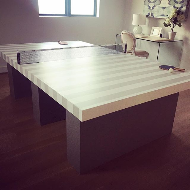 Love this creative custom ping pong table spotted in a model home.  @maryamonsdesign #custom #interiordesign #wecanmakeanything #fabrication #maryamonsdesign