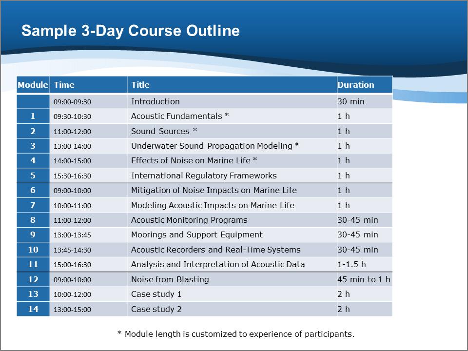 training module template free - training courses jasco applied sciences