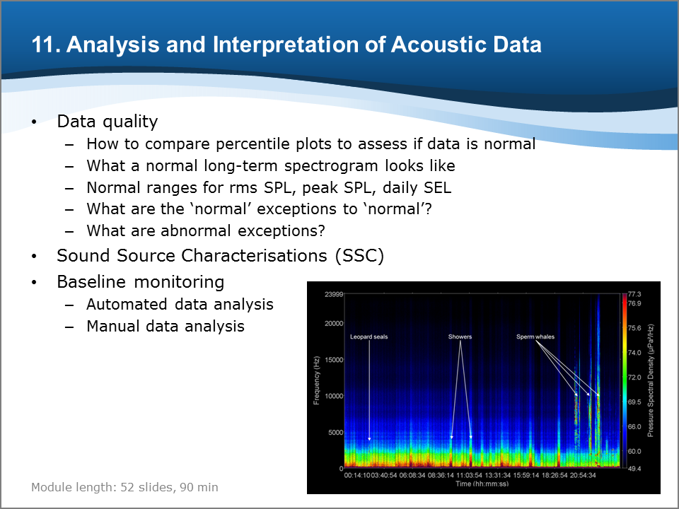 Bioacoustics Training Course: Analysis and Interpretation of Acoustic Data