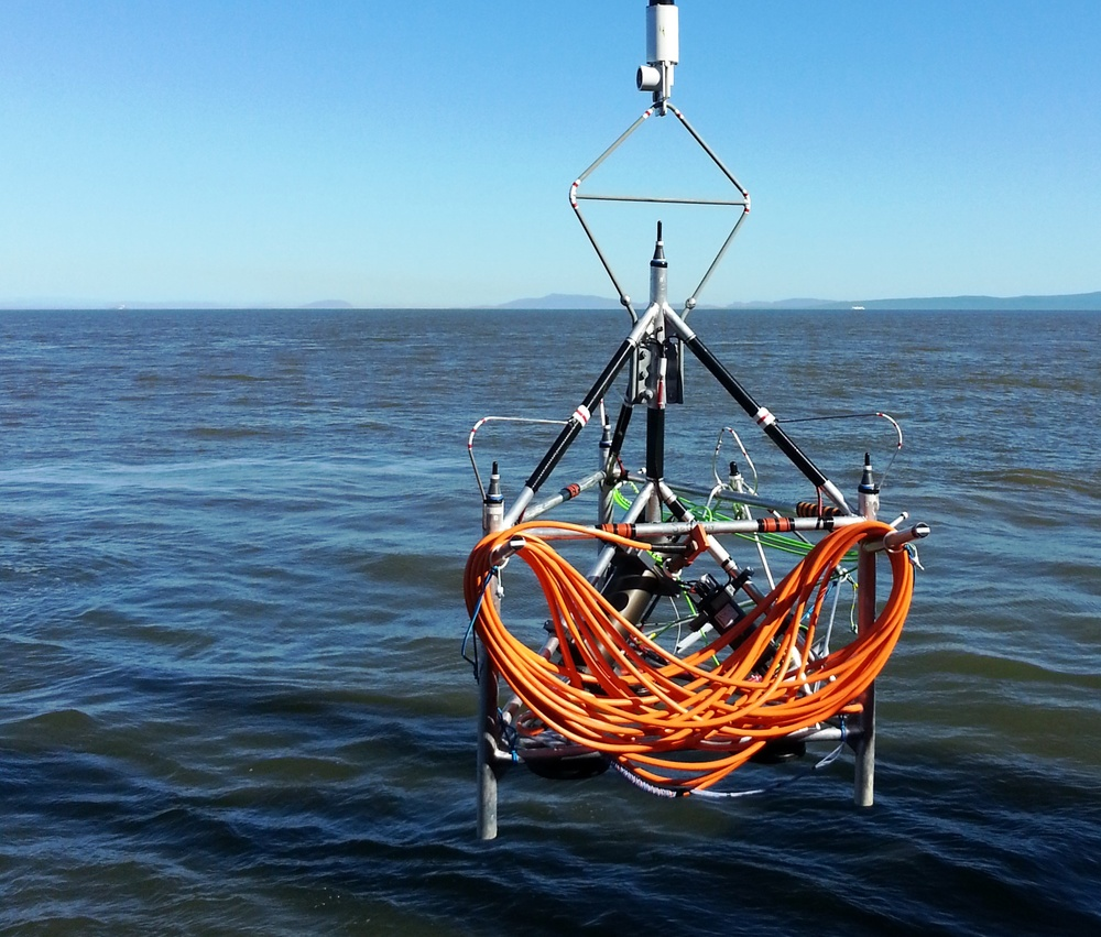 JASCO's AMAR on the VENUS cabled ocean observatory being deployed at the East Node in the Strait of Georgia