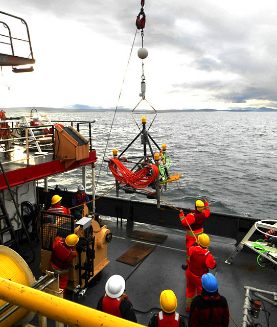 Lowering AMAR Observer at ONC's Strait of Georgia East observatory site. Photo courtesy of ONC.