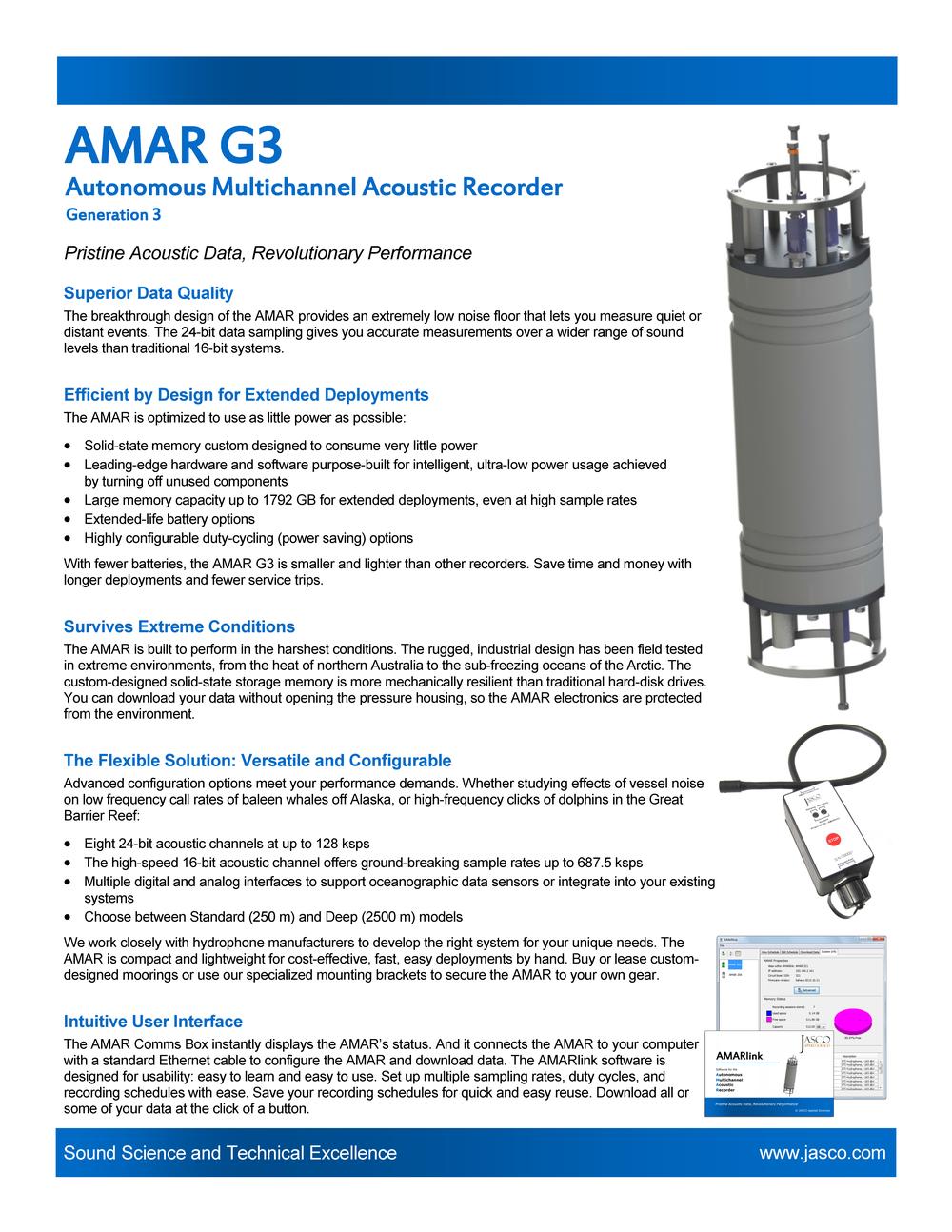 AMAR G3: Autonomous Multichannel Acoustic Recorder   Letter size (PDF)    A4 size (PDF)