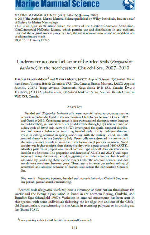- Frouin-Mouy, H., X. Mouy, B. Martin, and D. Hannay. 2016. Underwater acoustic behavior of bearded seals (Erignathus barbatus) in the northeastern Chukchi Sea, 2007–2010. Mar. Mamm. Sci. 32(1): 141-160.http://onlinelibrary.wiley.com/doi/10.1111/mms.12246/full