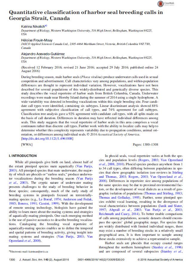 - Nikolich, K., H. Frouin-Mouy, and A. Acevedo-Gutiérrez. 2016. Quantitative classification of harbor seal breeding calls in Georgia Strait, Canada. J. Acoust. Soc. Am. 140(2): 1300-1308. http://doi.org/10.1121/1.4961008