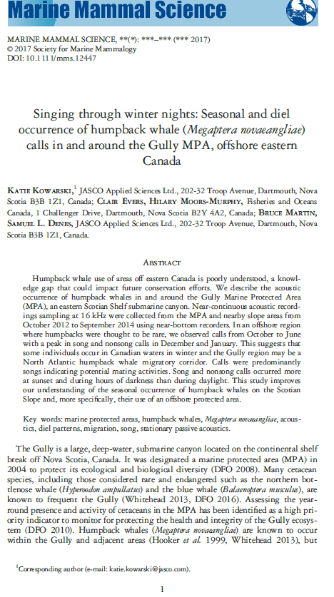 - Kowarski, K., C. Evers, H. Moors-Murphy, B. Martin, and S.L. Denes. 2018. Singing through winter nights: Seasonal and diel occurrence of humpback whale (Megaptera novaeangliae) calls in and around the Gully MPA, offshore eastern Canada. Mar Mammal Sci. 34(1):169-189. DOI: 10.1111/mms.12447