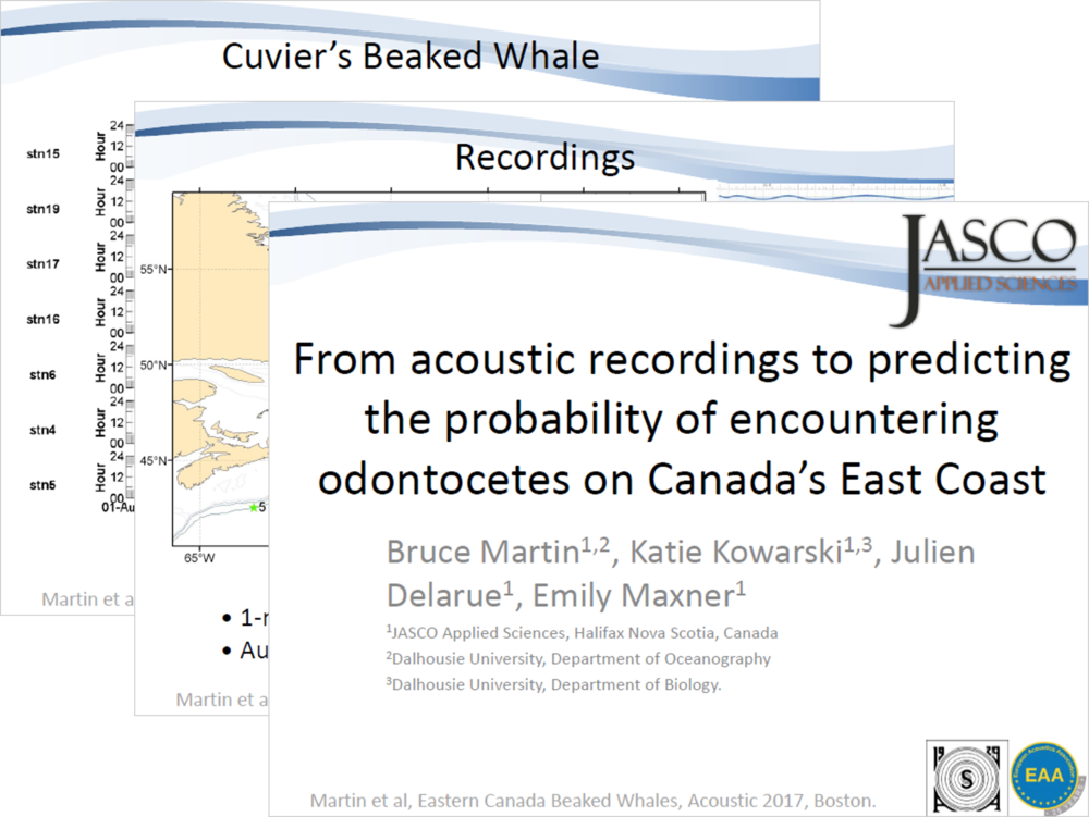 From acoustic recordings to predicting the probability of encountering odontocetes on Canada's East Coast (PDF) - Bruce Martin, Katie Kowarski, Julien Delarue, Emily Maxner