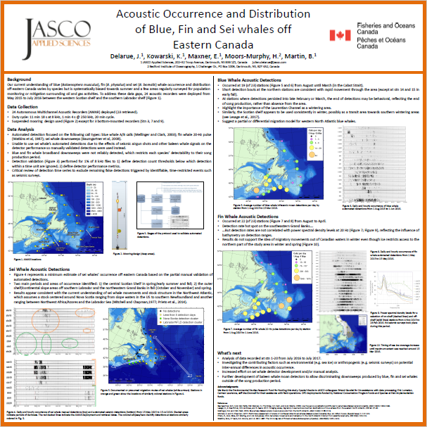 Acoustic Occurrence and Distribution of Blue, Fin and Sei whales off Eastern Canada (Poster, PDF) - Julien Delarue, Katie Kowarski, Emily Maxner, Hillary Moors-Murphy, Bruce Martin