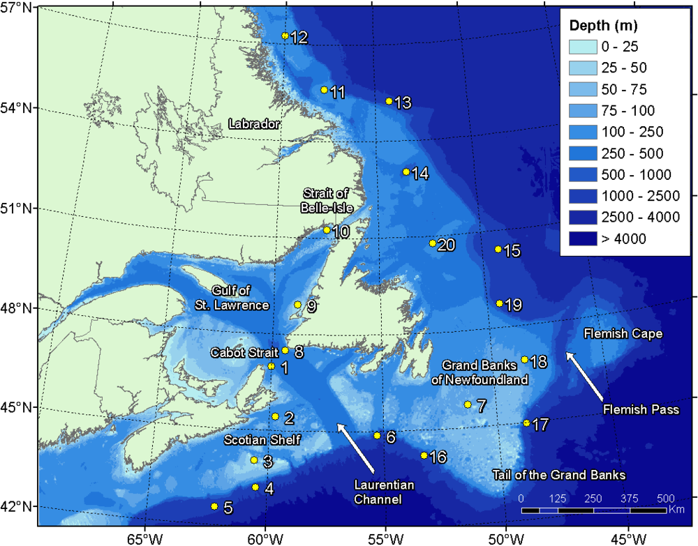 Map of the AMAR G3 acoustic recorders deployed off the Canadian East coast for the first of 2 years of underwater acoustic monitoring, Aug 2015 through Jul 2016.