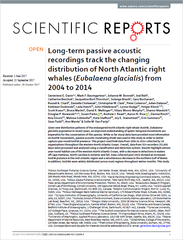 Long-term passive acoustic recordings track the changing distribution of North Atlantic right whales (Eubalaena glacialis) from 2004 to 2014 - Davis, G.E. M.F. Baumgartner, J.M. Bonnell, J. Bell, C. Berchok, J. Bort Thornton, S. Brault, G. Buchanan, et al.Scientific Reports 7:13460 (2017)doi.org/10.1038/s41598-017-13359-3