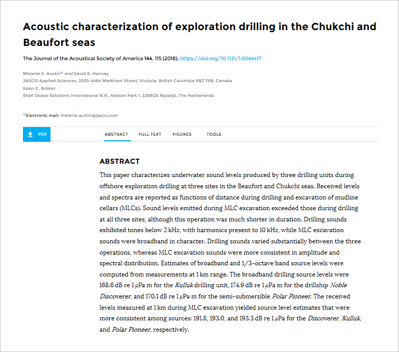Acoustic characterization of exploration drilling in the Chukchi and Beaufort seas - Austin, M.E., D.E. Hannay, and K.C. BrökerJ. Acoust. Soc. Am. 144(1): 115–123 (2018)doi.org/10.1121/1.5044417