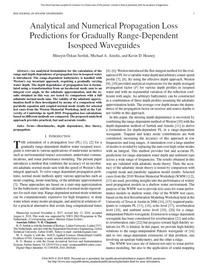 Analytical and numerical propagation loss predictions for gradually range-dependent isospeed waveguides - Sertlek, H.Ö., M.A. Ainslie, and K.D. HeaneyIEEE J. Ocean. Eng. (Early Access, 2018)doi.org/10.1109/JOE.2018.2865640