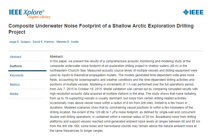 Composite underwater noise footprint of a shallow Arctic exploration drilling project - Quijano, J.E., D.E. Hannay, and M.E. AustinIEEE J. Ocean. Eng. (Early Access, 2018)doi.org/10.1109/JOE.2018.2858606