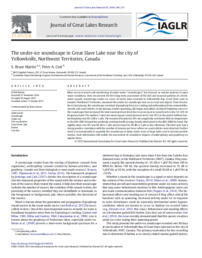 The under-ice soundscape in Great Slave Lake near the city of Yellowknife, Northwest Territories, Canada - Martin, S.B. and P.A. Cott J. Great Lakes Res. 42(2): 248-255 (2016)doi.org/10.1016/j.jglr.2015.09.012