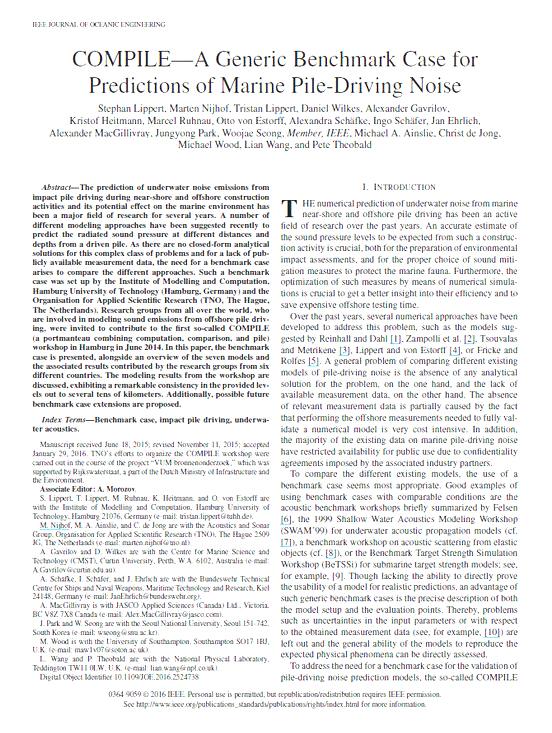 COMPILE—A generic benchmark case for predictions of marine pile-driving noise - Lippert, S., M. Nijhof, T. Lippert, D. Wilkes, A. Gavrilov, K. Heitmann, M. Ruhnau, O. von Estorff, A. Schäfke, et al. IEEE J. Ocean. Eng. 41(4): 1061-1071 (2016)doi.org/10.1109/JOE.2016.2524738