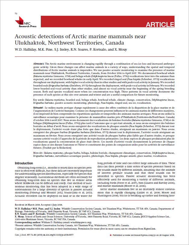 Acoustic detections of Arctic marine mammals near Ulukhaktok, Northwest Territories, Canada - Halliday, W.D., M.K. Pine, S.J. Insley, R.N. Soares, P. Kortsalo, and X. MouyCan. J. Zool. 97(1): 72–80 (2019)doi.org/10.1139/cjz-2018-0077