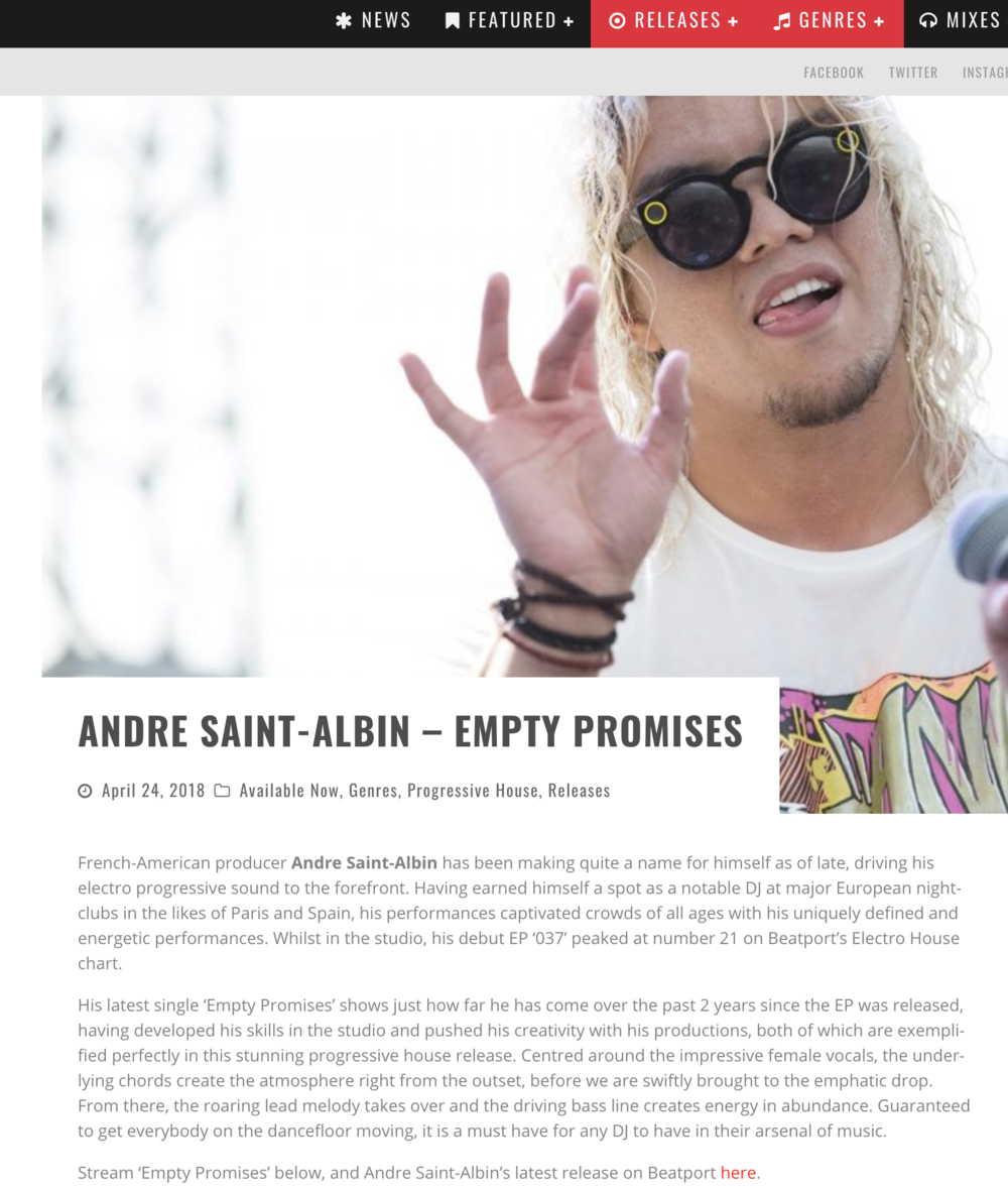"ANDRE ""EMPTY PROMISES""  2018"