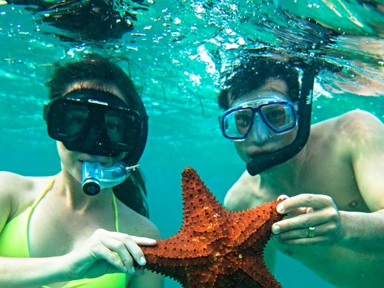 Snorkeling at Hatchet Caye