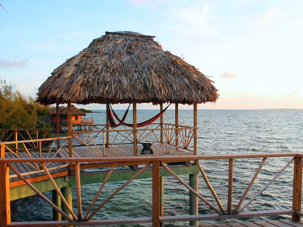 The over water Bungalows at Thatch Caye Resort