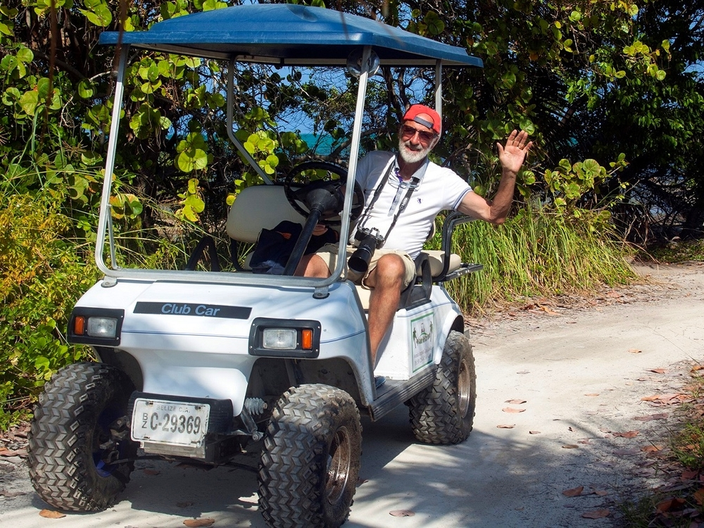 Exploring Ambergris Caye by golf cart is a blast!
