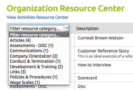Resource Center Filters