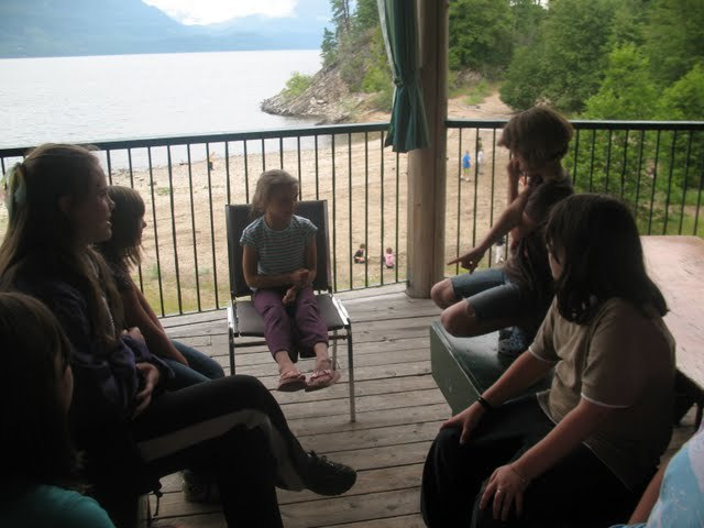 Hanging out on the deck, Kootney Covenant Bible Camp, BC.