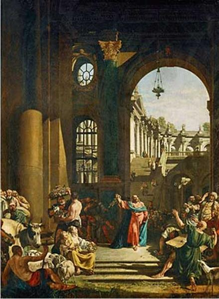 Bellotto, Bernardo,  Jesus Cleansing the Temple . 1773. WikiPaintings. Web. 19 January 2016. <www.wikipaintings.org>. This artwork is in the public domain.