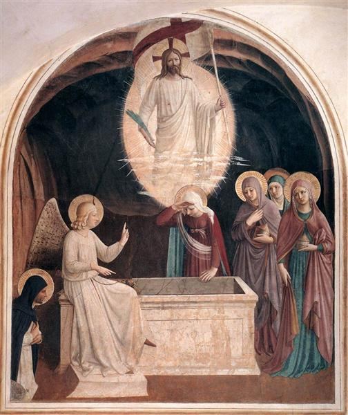 Fra Angelico.  Resurection of Christ and Women at the Tomb . c. 1442.  WikiPaintings. Web. 19 January 2016. <www.wikipaintings.org>. This artwork is in the public domain.