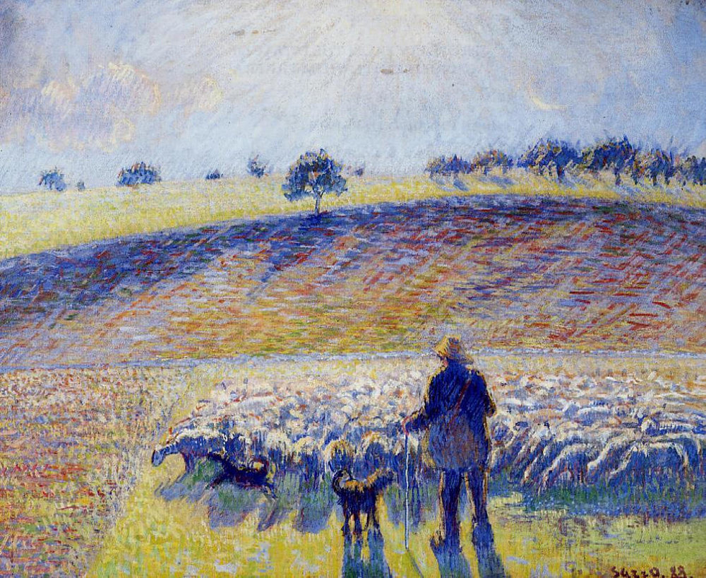 Pissarro, Camille. Shepherd And Sheep. 1888. WikiPaintings. Web. 7 February 2017. <www.wikipaintings.org>. This artwork is in the public domain.