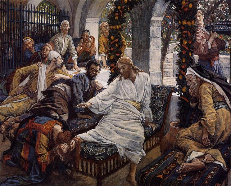 Tissot, James.  Mary Magdalene's Box of Very Precious Ointment . 1886-1894. WikiPaintings. Web. 7 February 2017. <www.wikipaintings.org>. This artwork is in the public domain.