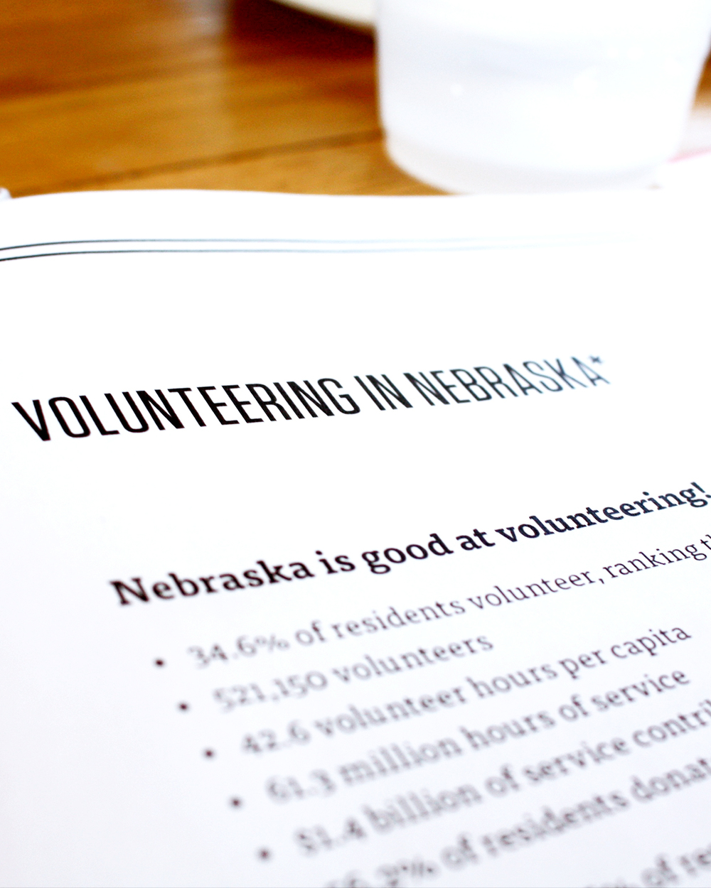 Nebraska ranks 7th in the nation when it comes to volunteering.