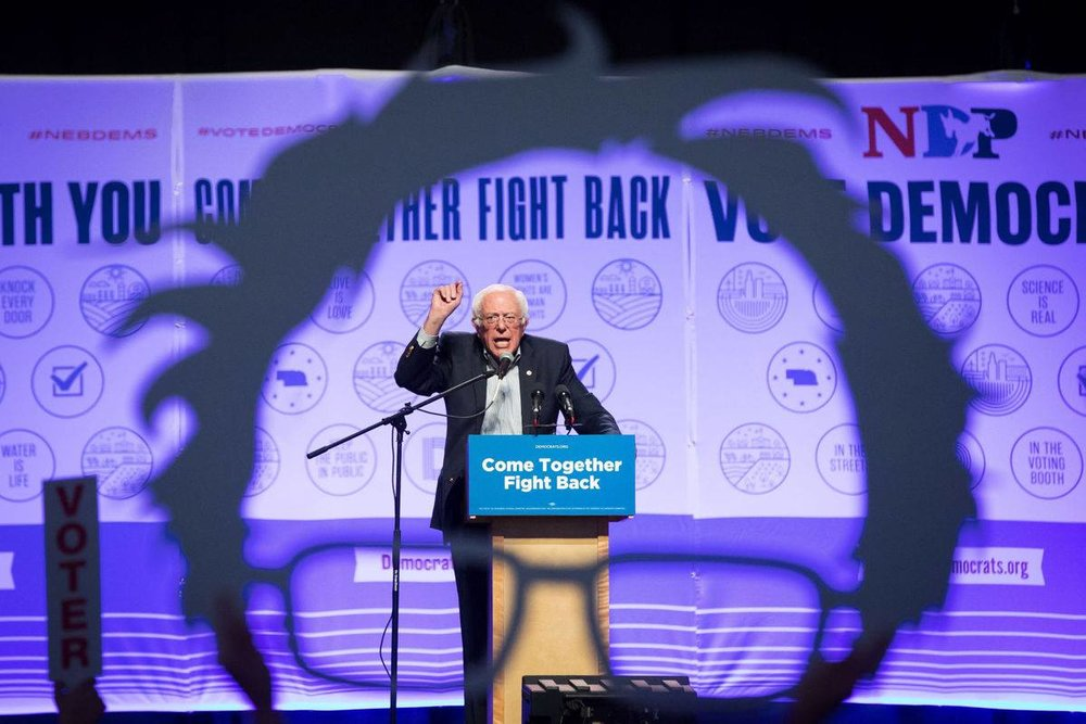Bernie Sanders speaks at Omaha's Baxter Arena for the DNC's Come Together Fight Back unity tour.