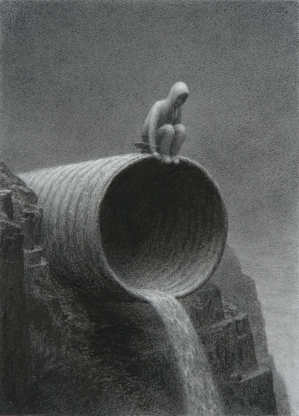 Drain Pipe , charcoal on paper, 14 x 11 in / 36 x 28 cm, 2010