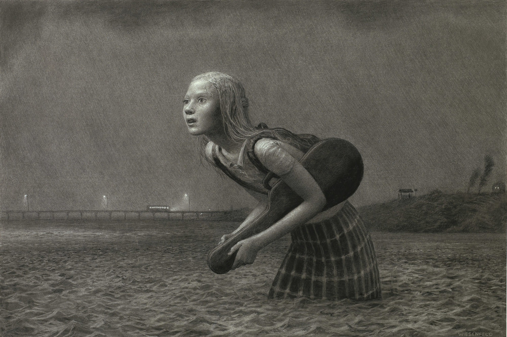 The Lesson , charcoal on paper, 33 x 50 in, 2007